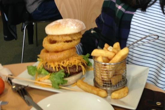 Sands: Cheeseburger and Onion Rings -- Plus Chips!