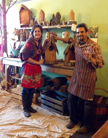Given Back Bird Houses Working Museum: Amen and Maria in their workshop at their birdhouse museum/ shop.