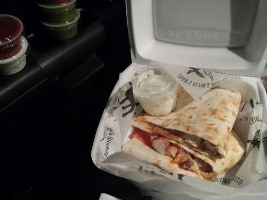 Juan's Flying Burrito : Chilean chicken with goat cheese quesadilla