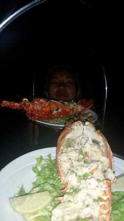 La Tentation Restaurant : The lobster on the summit of the seafood platter