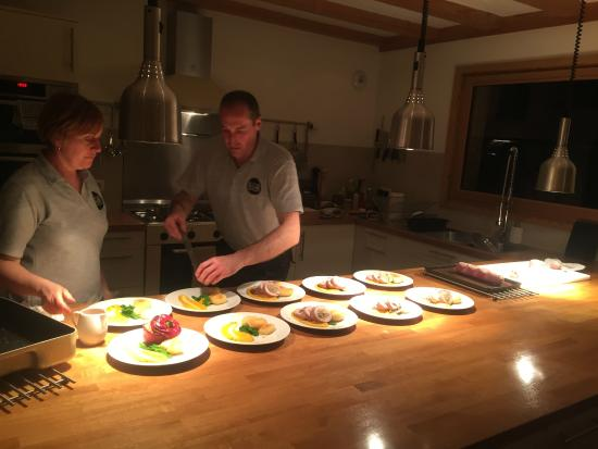 Chalet Amuse Bouche: Steve and Lyndsey serving another great dinner