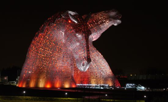 The Kelpies & The Helix: The Kelpies at night