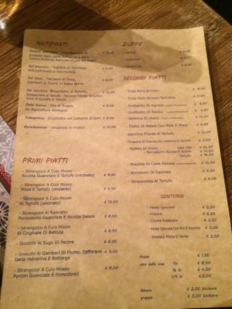 Scheggino, Italy: Il menu