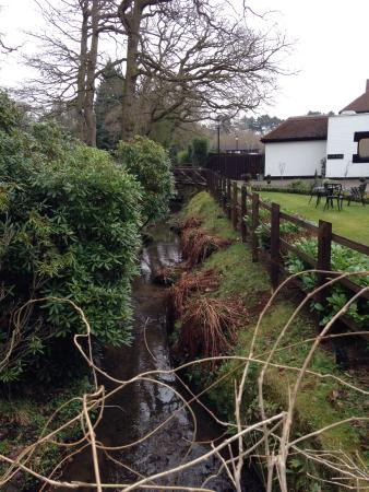 Ledsham, UK: Little stream outside the hotel