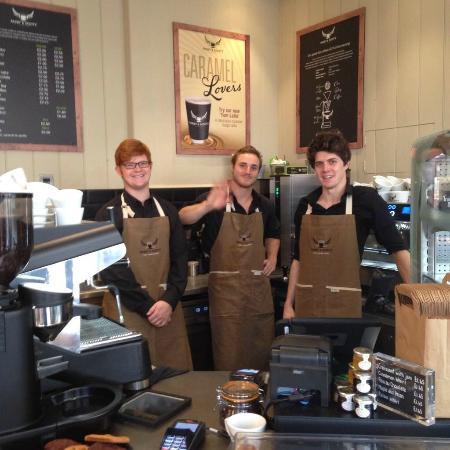 Suffolk, UK: The barista team in Bury