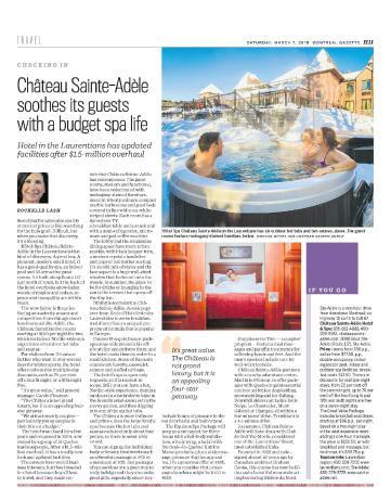 Hotel Spa Chateau Sainte-Adele: Article Montreal Gazette, Ottawa Citizen, Edmonton journal and Vancouver Sun, March 7, 2015