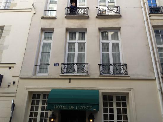 Hotel de Lutece: My wife on balcony.