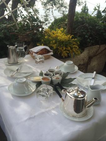 """Le Roquebrune : Petit déjeuner bien garnis sur la terrasse de la chambre """"l'olivier"""" soleil et face a la mer"""