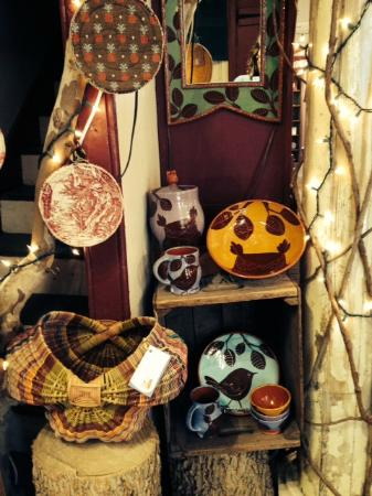 Westwind Potters: Examples of regional craft -- basketry, earthenware & mirrors, vintage & recycled fabric pothold
