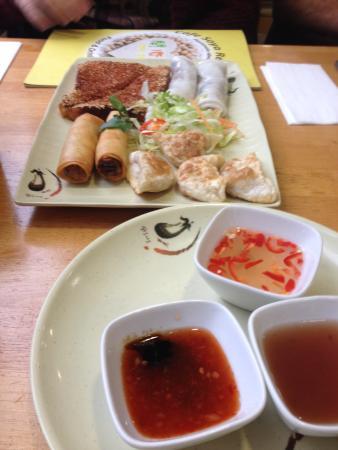 Cafe Soya: Veggie sharing platter! Mock prawn toast was fantastic!
