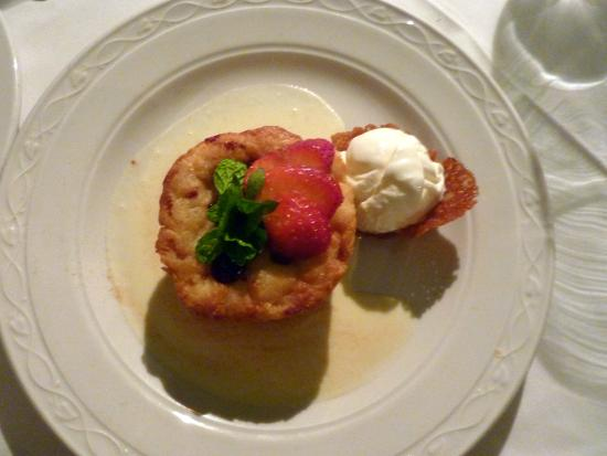 Champers: Warm bread pudding with Bajan rum sauce and ice cream.