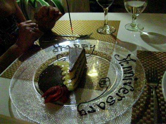 Jacques Waterfront Dining aka Froggie Jacques: The celebration cake slice was heaven.