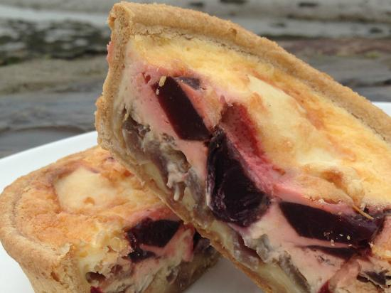 Johns of Instow: Our homemade seasonal beetroot & Capricorn goat's cheese quiche