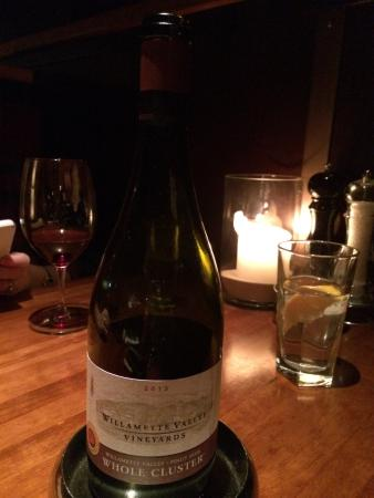 J Alexander's Restaurant: Wine selection of the night. A very nice Pinot Noir and for a great price!