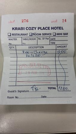 Hotel receipt extra charge picture of krabi cozy place hotel krabi cozy place hotel hotel receipt extra charge altavistaventures Images