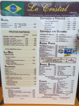Le Cristal: Cardápio em português