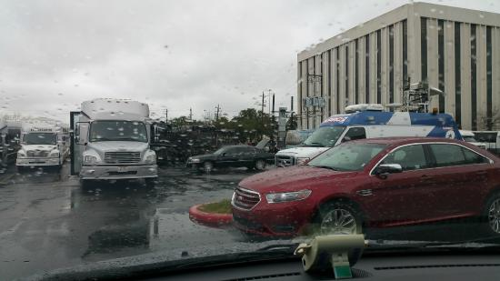 Hilton Houston Galleria Area: Burned out busses and ambulances in parking lot