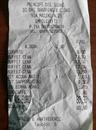 Empoli, Italien: Si paga il coperto a parte, caffè a prezzi esagerati e prezzi delle bevande che non li sanno nep