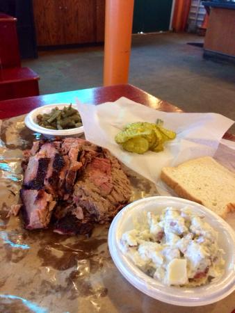 Texas Pride Barbecue: Brisket with german potato salad and green beans