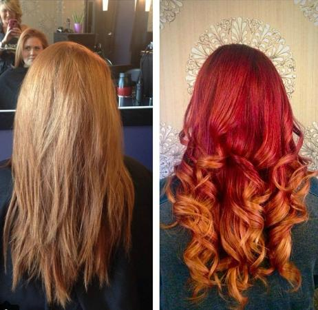before and after from light to bombshell red ombre picture of