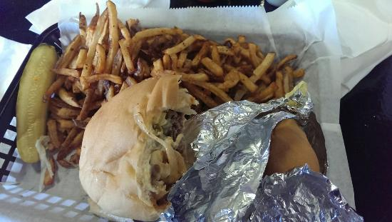 Sax Deli: The Philly Peno with large fries. Delicious!