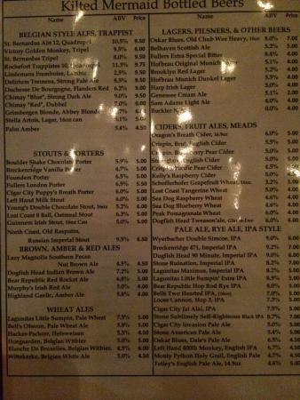 Kilted Mermaid: A Wonderful Beer Menu !!!