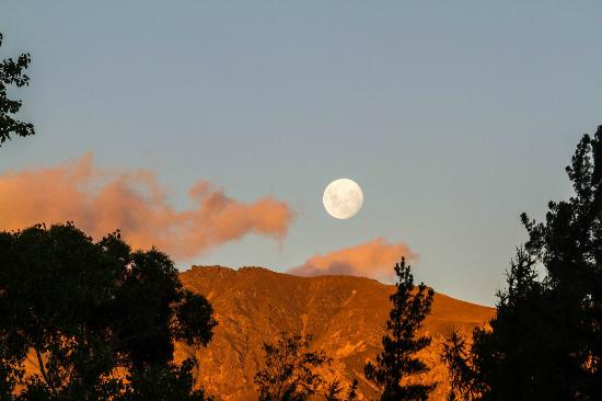 Lake Hawea Holiday Park: moon rising as viewed from our porch