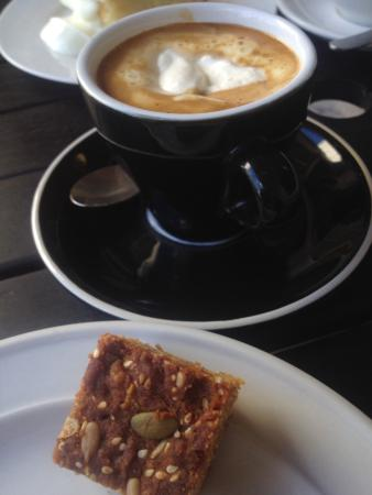 Cafe Mondo: Vienna Coffee with real whipped cream and a small slice of bird seed slice