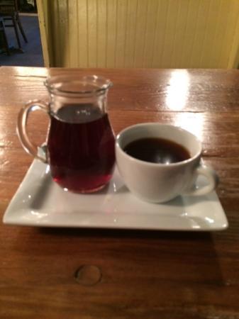 Half & Half: Freshly brewed coffee