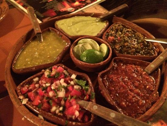 El Fogon : This platter of salsas from mild to HOT come with every meal & each are fabulous!! My hub & I fi
