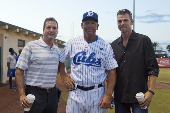 Jackie Robinson Ballpark and Statue: Former Daytona player (Kerry Wood in black) with Dave Keller