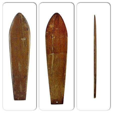 San Clemente, Californië: Made around 1900, this is one of the oldest solid redwood boards made in Hawaii. SHACC collectio