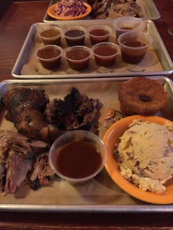 Black Dog Smoke & Ale House: Pulled pork, free range chicken and burnt ends with spicy southwestern potato salad and cornbrea