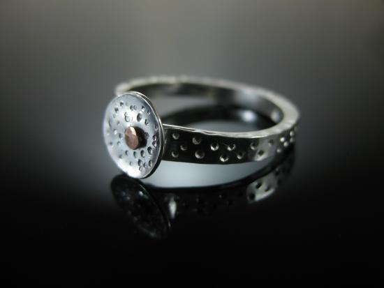 La Vidalerie Jewellery Making Workshops: Riveting - Silver & Copper Ring  - Students Work