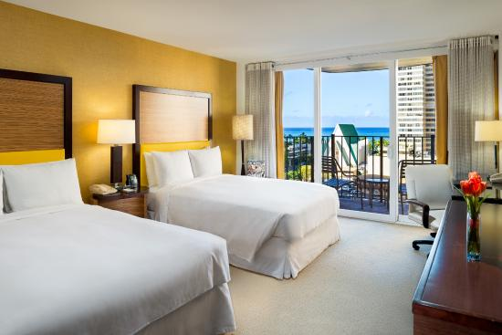 Ocean View Guest Room Two Double Beds Picture Of Hilton Waikiki Beach Honolulu Tripadvisor