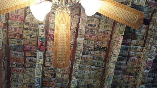 Calamity Jane's Hamburger Restaurant : More dollar bill art above
