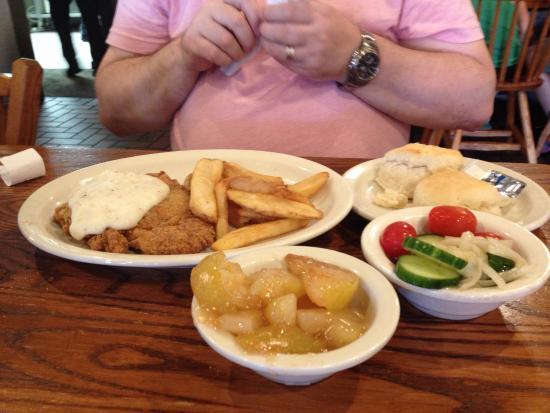 Cracker Barrel : Chicken, steak fries, salad, fried Apple, buttermilk biscuits (too much for one)