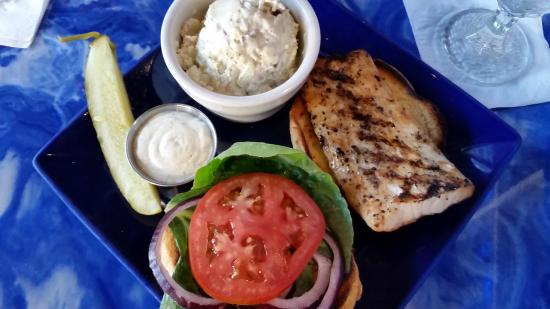 Seaside Grill: Herb-Grilled Mahi Sandwich with Bacon & Egg Potato Salad