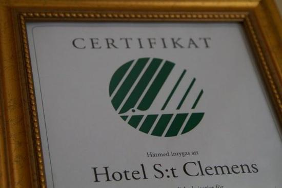 Hotel St. Clemens: Certificate