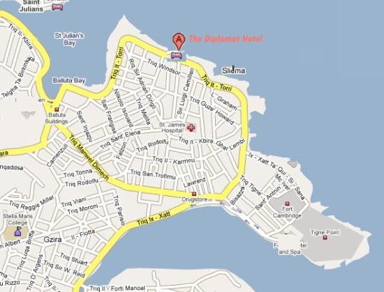 Location map Picture of Diplomat Hotel Malta Sliema TripAdvisor
