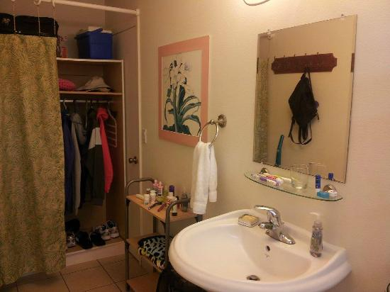 Bears' Place Guest House: combined bathroom and closet/storage in Hibiscus room