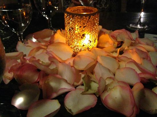 Cioppino at the Ritz-Carlton Key Biscayne: The centerpiece at our table for dinner. (Rose Petals)