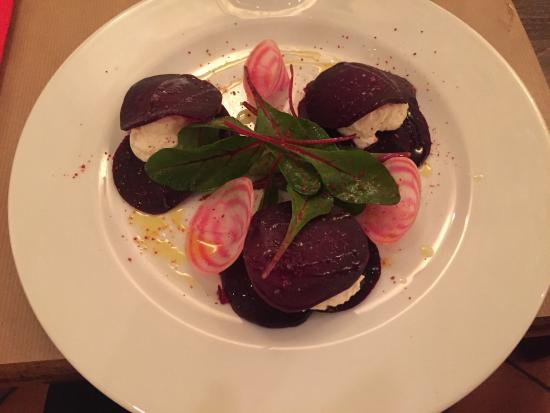 Les Gueules Noires: Beets and goats cheese entree