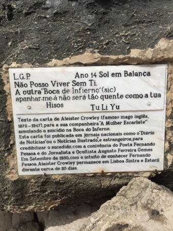 Boca do Inferno : Targa che racconta la leggenda