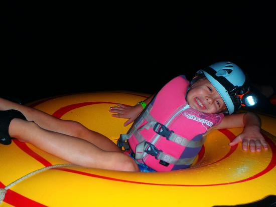 Cavetubing with Major Tom: My daughter on her tube