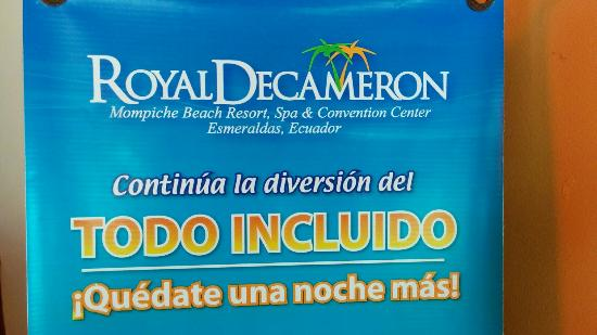 Royal Decameron Mompiche: False!!! It isn't all included!!?