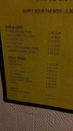 Naughty Squirrel Backpackers: Drink prices!