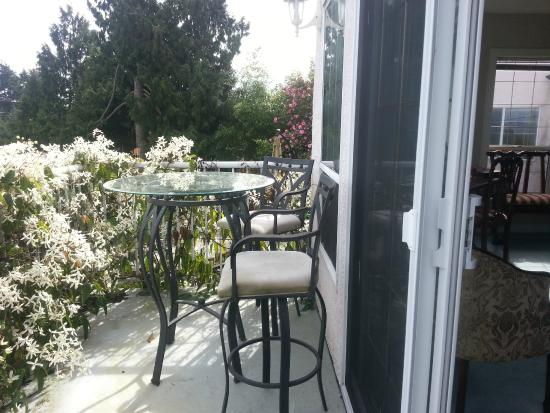 By the Sea BnB: Front Room With Balcony and Desk, Ocean & Garden View