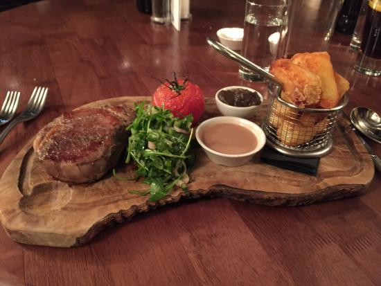 The Chequers: Rib eye steak for Main - cooked perfectly and such a tender steak. A must have if you visit!!