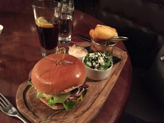 The Chequers: Burger and chips for main, the fiancé loved it!